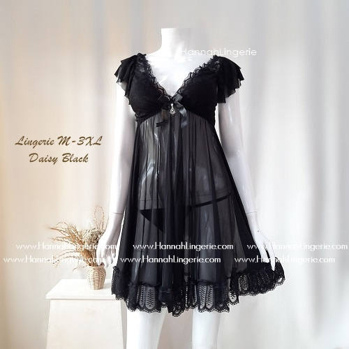 Lingerie M-3XL Seri: DAISY Black