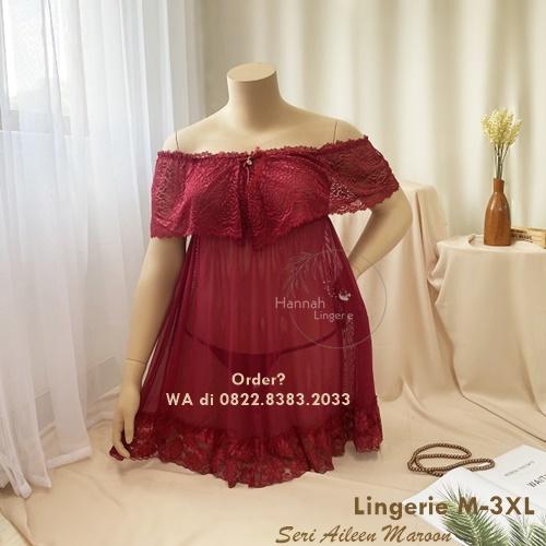 Lingerie M-3XL Seri: Aileen Maroon